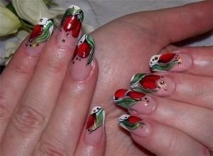 дизайн ногтей тюльпаны
