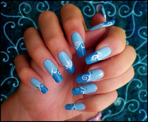 Сине-голубые дизайны ногтей