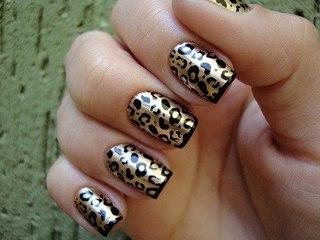 леопардовый маникюр с наклейками
