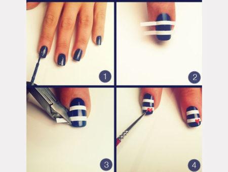 полоска на коротких ногтях