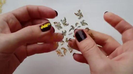 как клеить на ногти слайдер