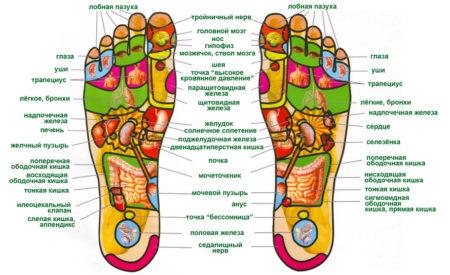 точки на ступнях отвечающие за органы