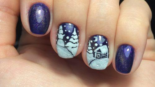дизайн ногтей с сугробами